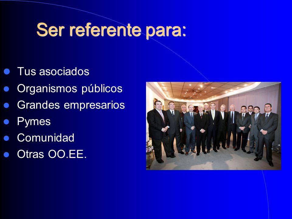 Ser referente para: Ser referente para: Tus asociados Organismos públicos Grandes empresarios Pymes Comunidad Otras OO.EE.