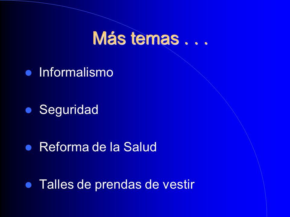 Más temas... Más temas... Informalismo Seguridad Reforma de la Salud Talles de prendas de vestir