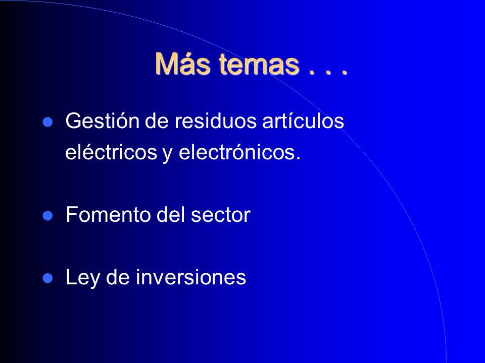 Más temas... Más temas... Gestión de residuos artículos eléctricos y electrónicos. Fomento del sector Ley de inversiones