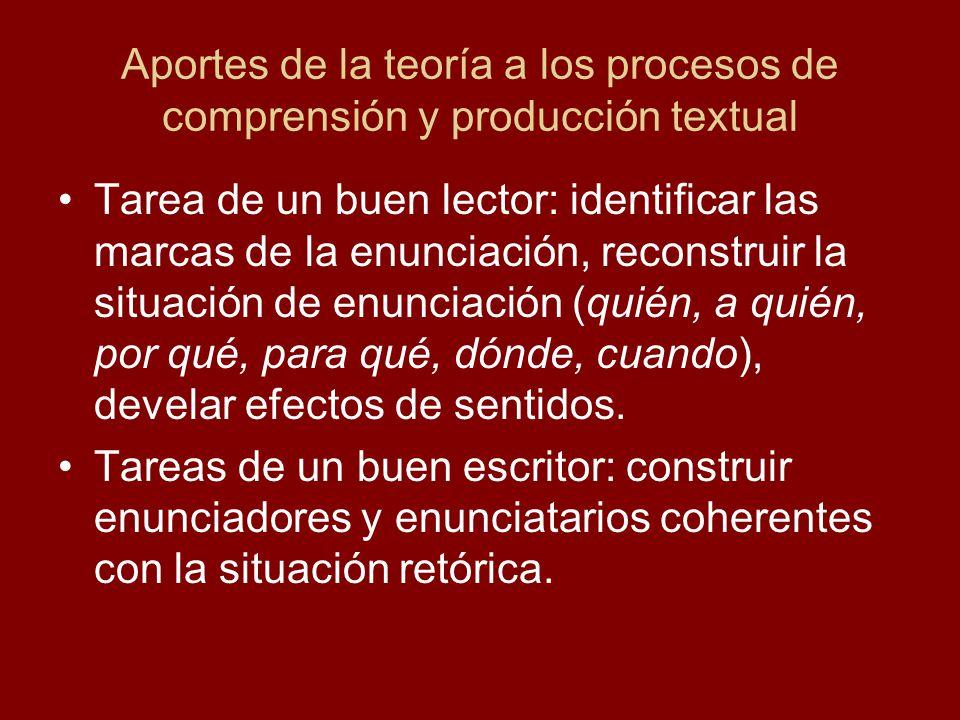 Aportes de la teoría a los procesos de comprensión y producción textual Tarea de un buen lector: identificar las marcas de la enunciación, reconstruir