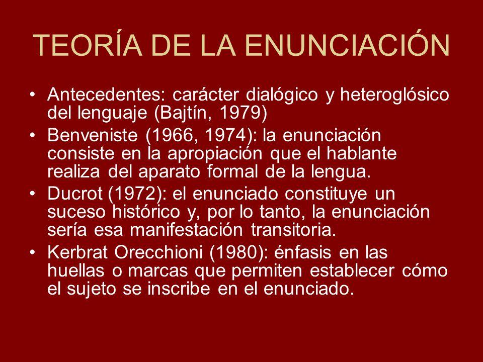TEORÍA DE LA ENUNCIACIÓN Antecedentes: carácter dialógico y heteroglósico del lenguaje (Bajtín, 1979) Benveniste (1966, 1974): la enunciación consiste