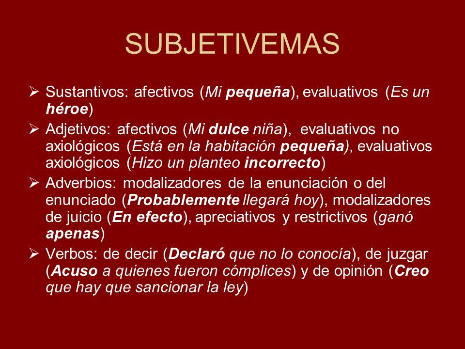 SUBJETIVEMAS Sustantivos: afectivos (Mi pequeña), evaluativos (Es un héroe) Adjetivos: afectivos (Mi dulce niña), evaluativos no axiológicos (Está en