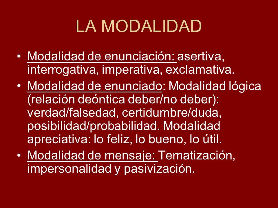 LA MODALIDAD Modalidad de enunciación: asertiva, interrogativa, imperativa, exclamativa. Modalidad de enunciado: Modalidad lógica (relación deóntica d