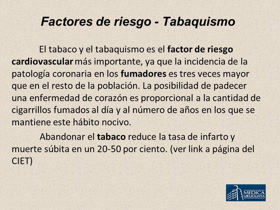 Factores de riesgo - Tabaquismo El tabaco y el tabaquismo es el factor de riesgo cardiovascular más importante, ya que la incidencia de la patología c