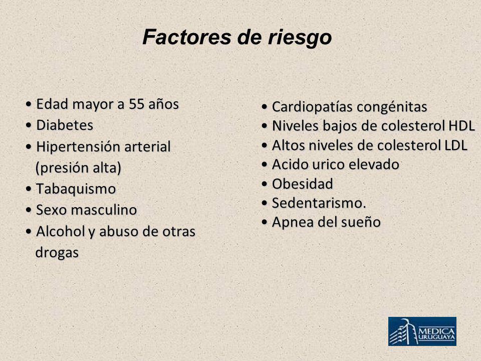 Factores de riesgo Edad mayor a 55 años Edad mayor a 55 años Diabetes Diabetes Hipertensión arterial Hipertensión arterial (presión alta) (presión alt