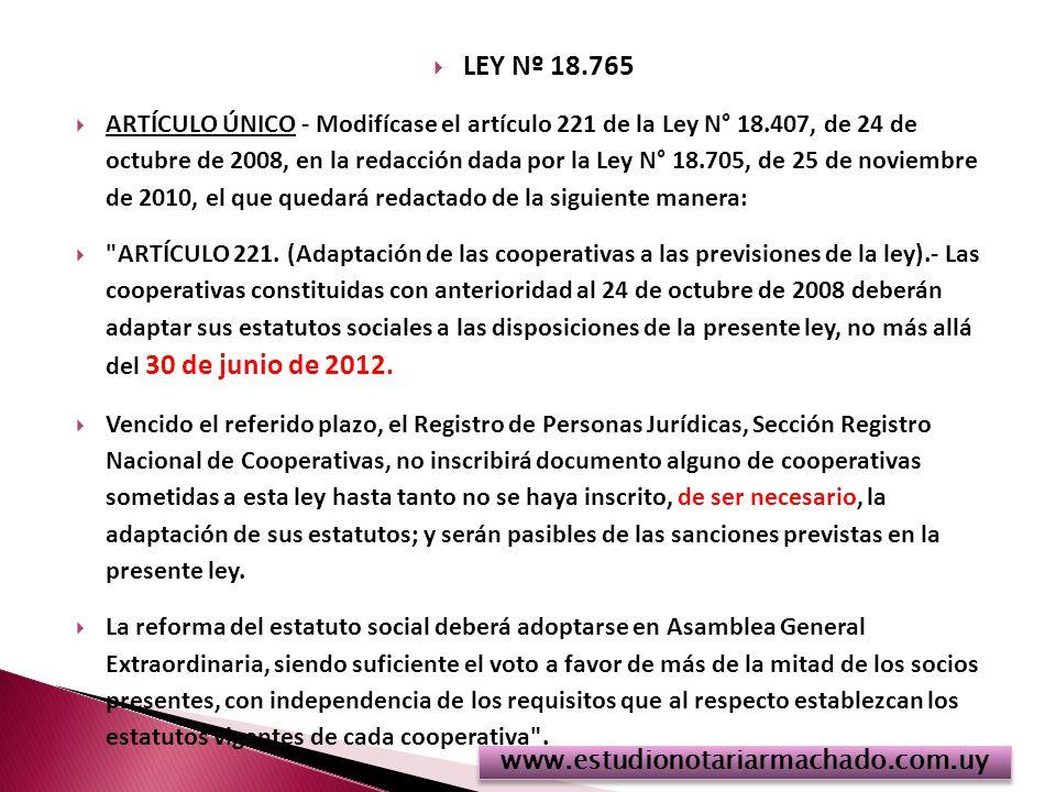 LEY Nº 18.765 ARTÍCULO ÚNICO - Modifícase el artículo 221 de la Ley N° 18.407, de 24 de octubre de 2008, en la redacción dada por la Ley N° 18.705, de 25 de noviembre de 2010, el que quedará redactado de la siguiente manera: ARTÍCULO 221.