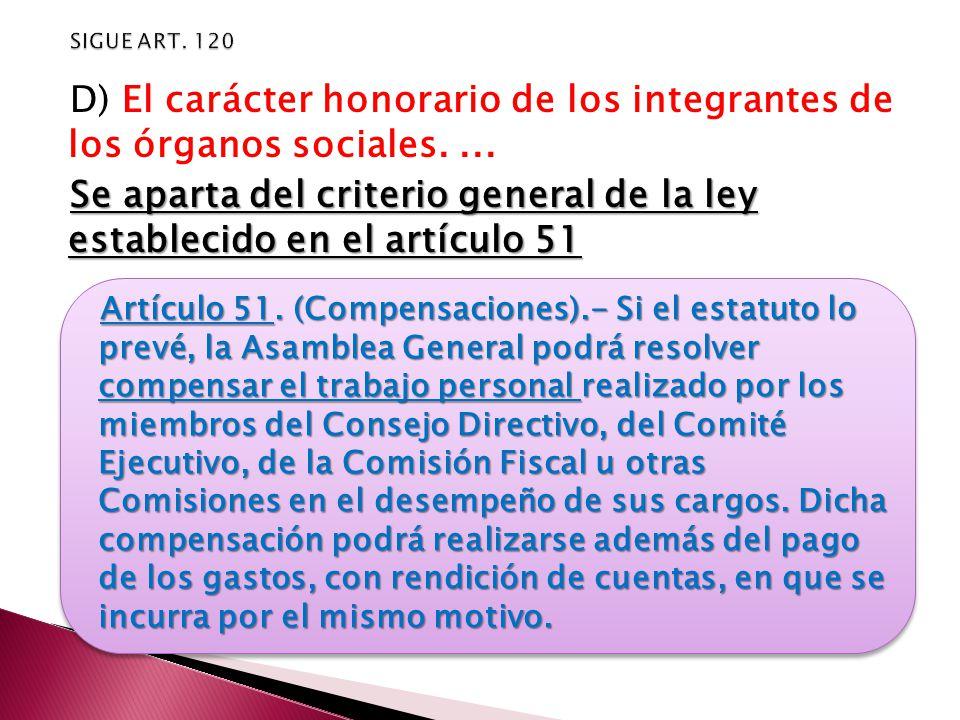 D) El carácter honorario de los integrantes de los órganos sociales....