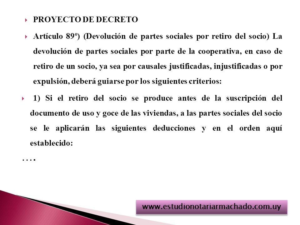 PROYECTO DE DECRETO Artículo 89º) (Devolución de partes sociales por retiro del socio) La devolución de partes sociales por parte de la cooperativa, en caso de retiro de un socio, ya sea por causales justificadas, injustificadas o por expulsión, deberá guiarse por los siguientes criterios: 1) Si el retiro del socio se produce antes de la suscripción del documento de uso y goce de las viviendas, a las partes sociales del socio se le aplicarán las siguientes deducciones y en el orden aquí establecido: ….