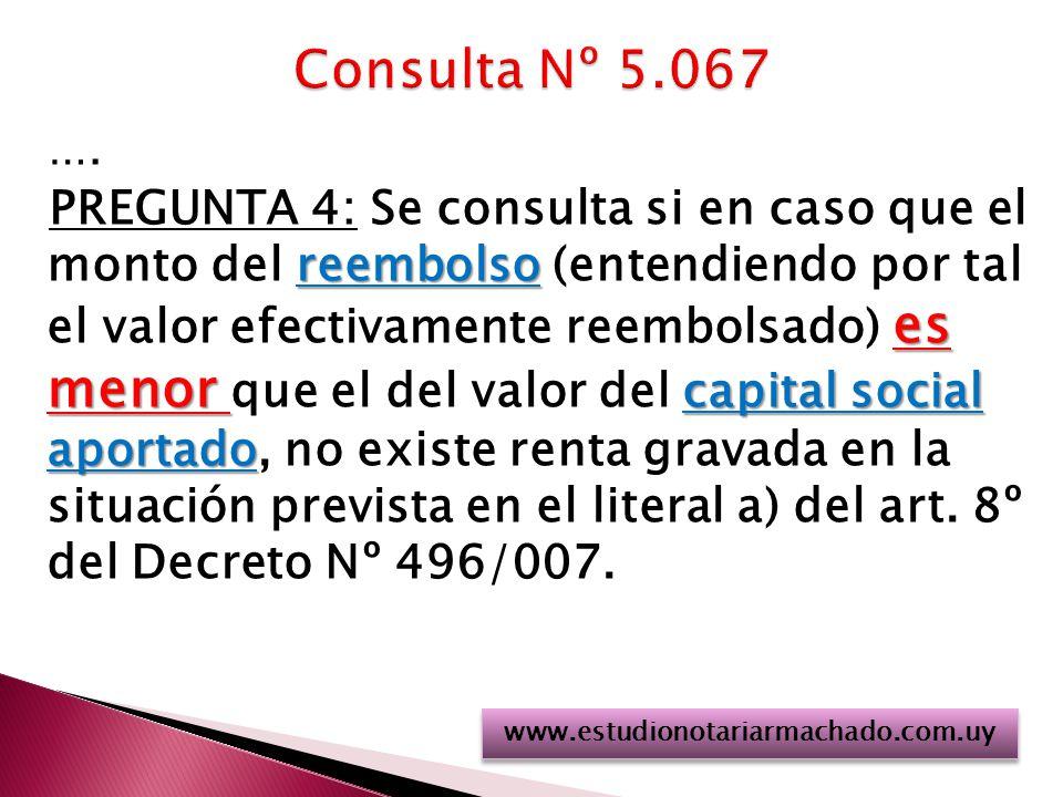 …. reembolso es menor capital social aportado PREGUNTA 4: Se consulta si en caso que el monto del reembolso (entendiendo por tal el valor efectivament