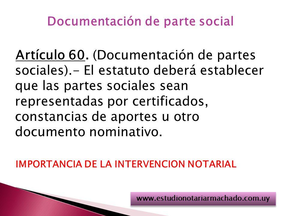 Documentación de parte social Artículo 60.