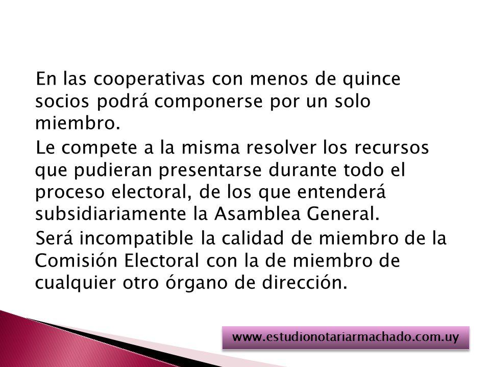 En las cooperativas con menos de quince socios podrá componerse por un solo miembro.