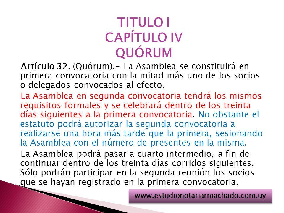 TITULO I CAPÍTULO IV QUÓRUM Artículo 32.