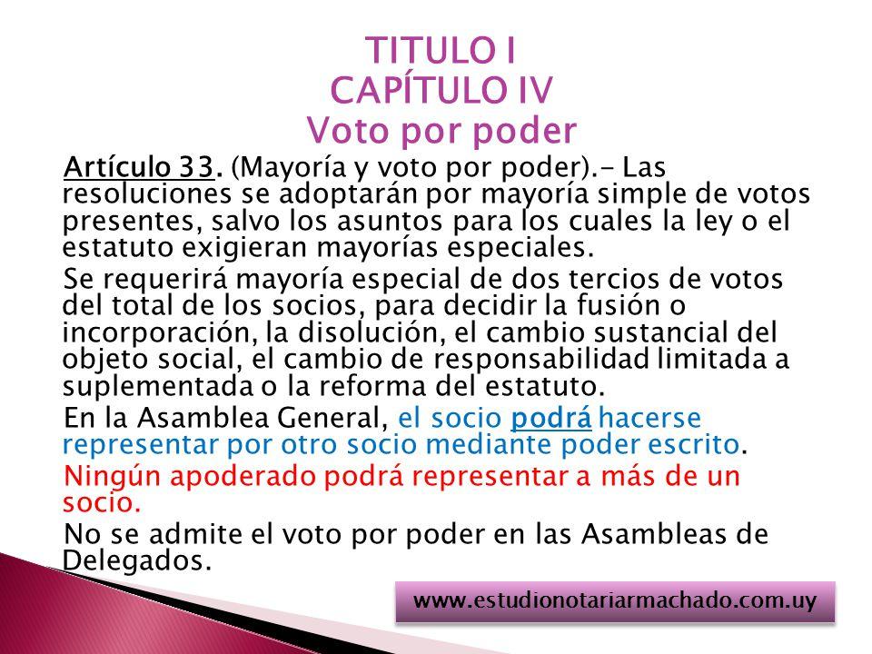 TITULO I CAPÍTULO IV Voto por poder Artículo 33.