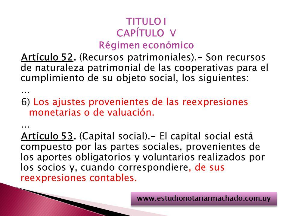 TITULO I CAPÍTULO V Régimen económico Artículo 52.