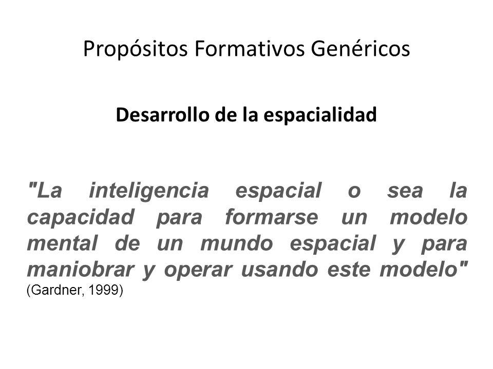Propósitos Formativos Genéricos Desarrollo de la espacialidad La inteligencia espacial o sea la capacidad para formarse un modelo mental de un mundo espacial y para maniobrar y operar usando este modelo (Gardner, 1999)