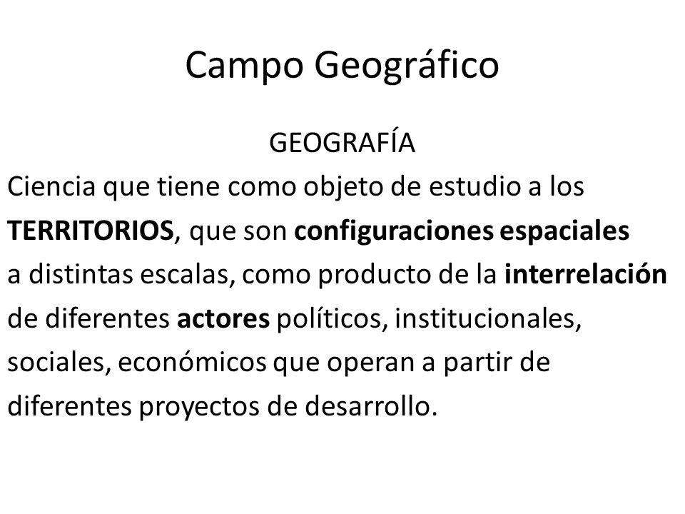 Campo Geográfico GEOGRAFÍA Ciencia que tiene como objeto de estudio a los TERRITORIOS, que son configuraciones espaciales a distintas escalas, como producto de la interrelación de diferentes actores políticos, institucionales, sociales, económicos que operan a partir de diferentes proyectos de desarrollo.