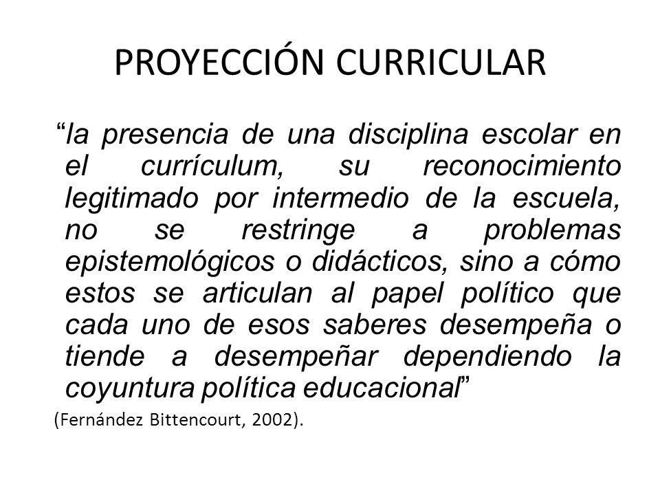 PROYECCIÓN CURRICULAR la presencia de una disciplina escolar en el currículum, su reconocimiento legitimado por intermedio de la escuela, no se restri