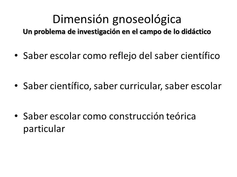 Un problema de investigación en el campo de lo didáctico Dimensión gnoseológica Un problema de investigación en el campo de lo didáctico Saber escolar