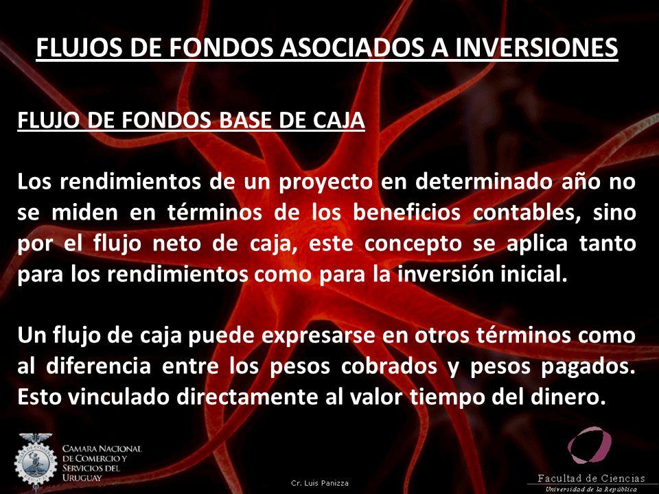 FLUJOS DE FONDOS ASOCIADOS A INVERSIONES FLUJO DE FONDOS BASE DE CAJA Los rendimientos de un proyecto en determinado año no se miden en términos de lo