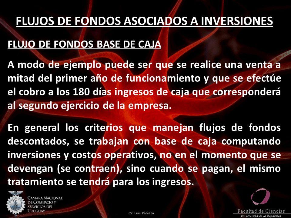 FLUJOS DE FONDOS ASOCIADOS A INVERSIONES FLUJO DE FONDOS BASE DE CAJA A modo de ejemplo puede ser que se realice una venta a mitad del primer año de f