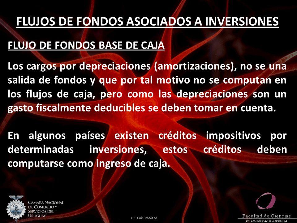 FLUJOS DE FONDOS ASOCIADOS A INVERSIONES FLUJO DE FONDOS BASE DE CAJA Los cargos por depreciaciones (amortizaciones), no se una salida de fondos y que
