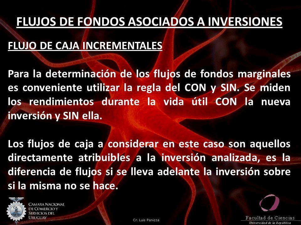 FLUJOS DE FONDOS ASOCIADOS A INVERSIONES FLUJO DE CAJA INCREMENTALES Para la determinación de los flujos de fondos marginales es conveniente utilizar
