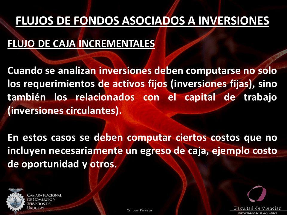 FLUJOS DE FONDOS ASOCIADOS A INVERSIONES FLUJO DE CAJA INCREMENTALES Cuando se analizan inversiones deben computarse no solo los requerimientos de act