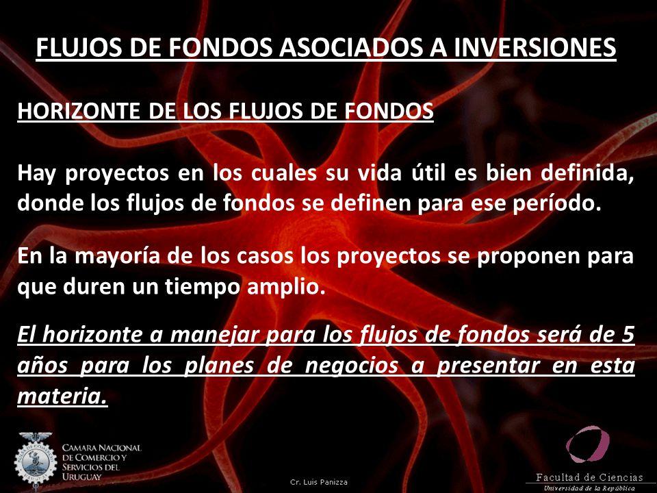 FLUJOS DE FONDOS ASOCIADOS A INVERSIONES HORIZONTE DE LOS FLUJOS DE FONDOS Hay proyectos en los cuales su vida útil es bien definida, donde los flujos
