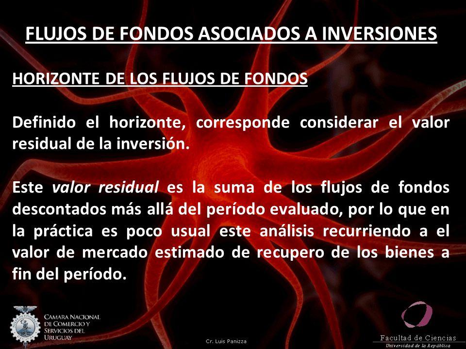 FLUJOS DE FONDOS ASOCIADOS A INVERSIONES HORIZONTE DE LOS FLUJOS DE FONDOS Definido el horizonte, corresponde considerar el valor residual de la inver