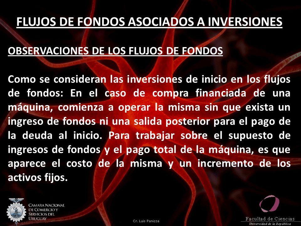 FLUJOS DE FONDOS ASOCIADOS A INVERSIONES OBSERVACIONES DE LOS FLUJOS DE FONDOS Como se consideran las inversiones de inicio en los flujos de fondos: E
