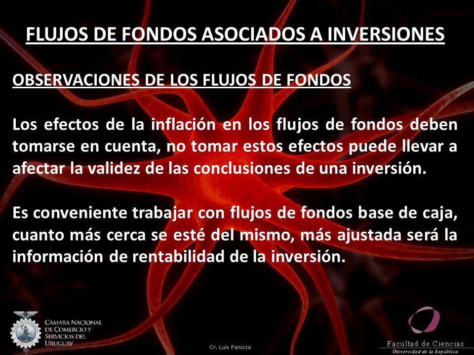 FLUJOS DE FONDOS ASOCIADOS A INVERSIONES OBSERVACIONES DE LOS FLUJOS DE FONDOS Los efectos de la inflación en los flujos de fondos deben tomarse en cu