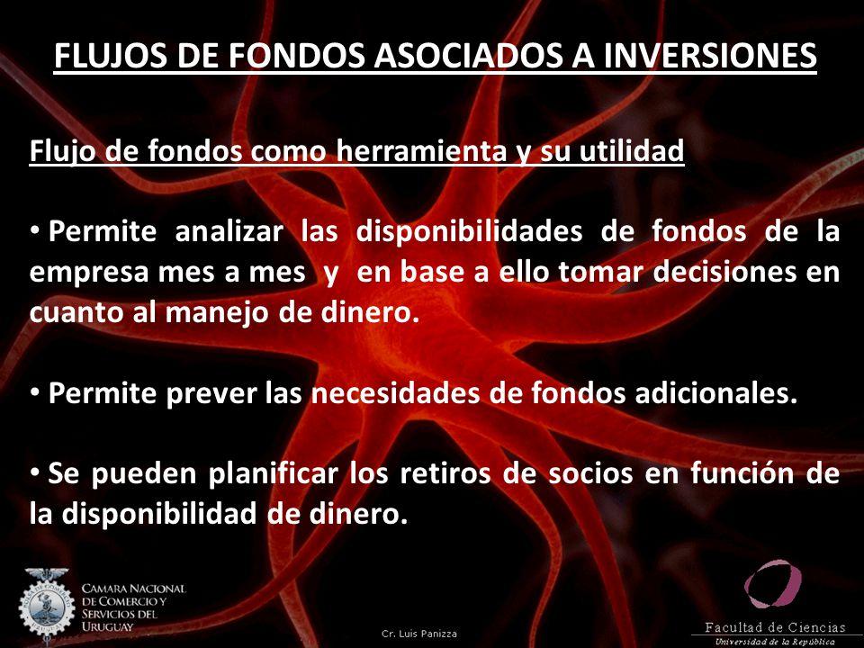 FLUJOS DE FONDOS ASOCIADOS A INVERSIONES Flujo de fondos como herramienta y su utilidad Permite analizar las disponibilidades de fondos de la empresa