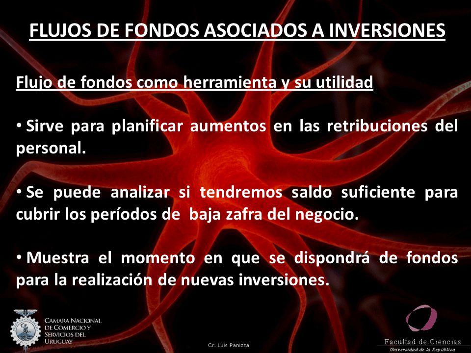 FLUJOS DE FONDOS ASOCIADOS A INVERSIONES Flujo de fondos como herramienta y su utilidad Sirve para planificar aumentos en las retribuciones del person