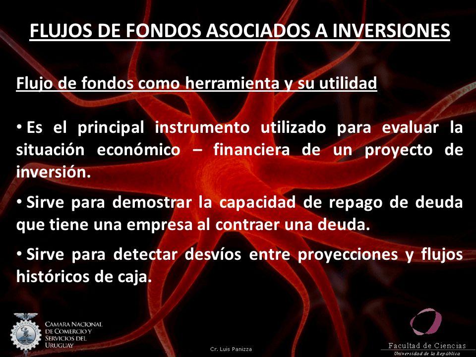FLUJOS DE FONDOS ASOCIADOS A INVERSIONES Flujo de fondos como herramienta y su utilidad Es el principal instrumento utilizado para evaluar la situació