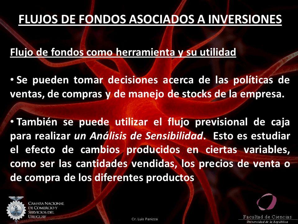 FLUJOS DE FONDOS ASOCIADOS A INVERSIONES Flujo de fondos como herramienta y su utilidad Se pueden tomar decisiones acerca de las políticas de ventas,