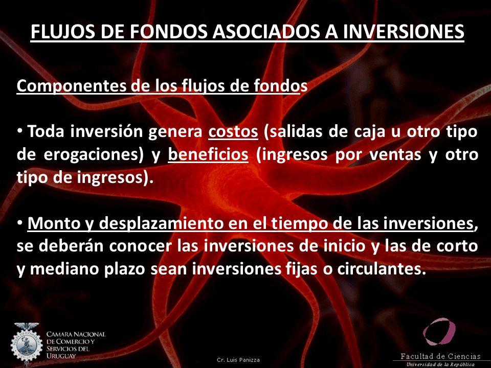FLUJOS DE FONDOS ASOCIADOS A INVERSIONES Componentes de los flujos de fondos Toda inversión genera costos (salidas de caja u otro tipo de erogaciones)