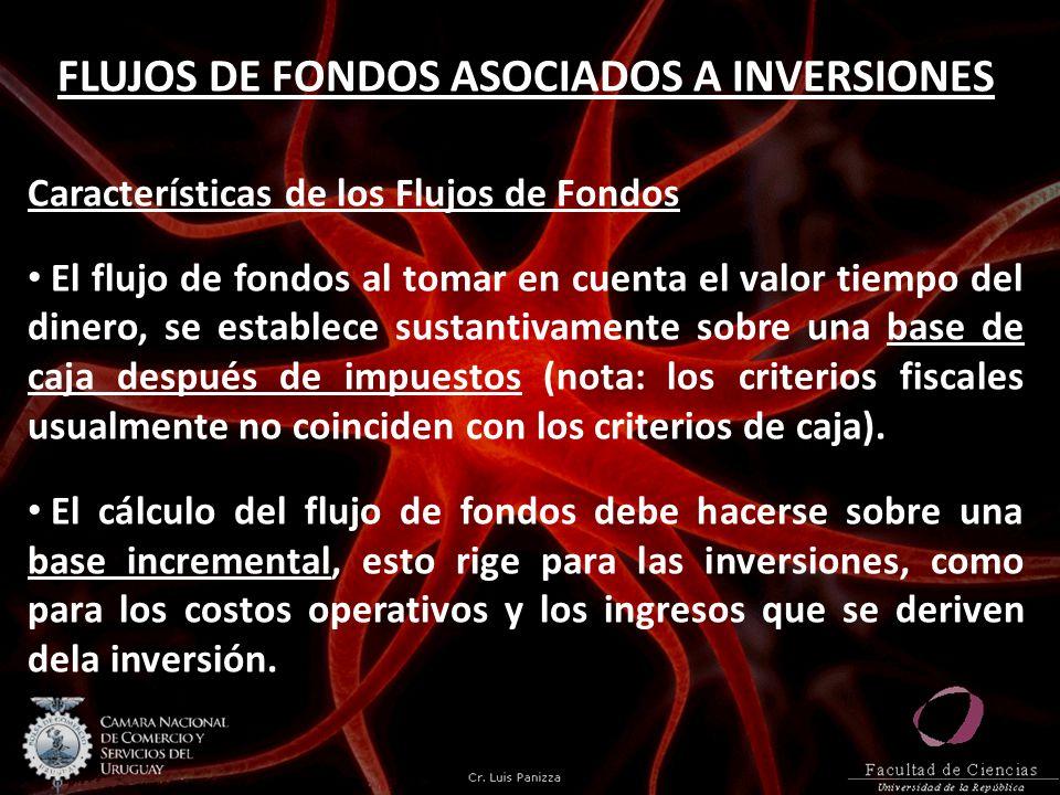 FLUJOS DE FONDOS ASOCIADOS A INVERSIONES Características de los Flujos de Fondos El flujo de fondos al tomar en cuenta el valor tiempo del dinero, se