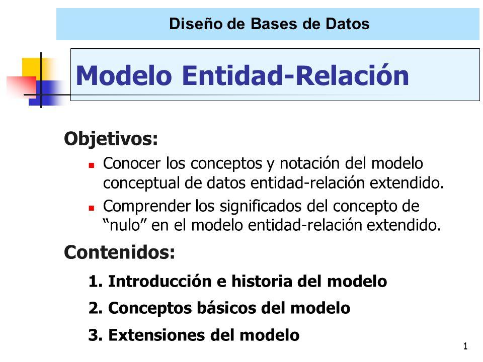 1 Objetivos: Conocer los conceptos y notación del modelo conceptual de datos entidad-relación extendido. Comprender los significados del concepto de n