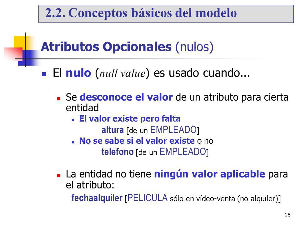 15 Atributos Opcionales (nulos) El nulo ( null value ) es usado cuando... Se desconoce el valor de un atributo para cierta entidad El valor existe per