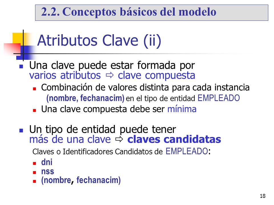 18 Atributos Clave (ii) Una clave puede estar formada por varios atributos clave compuesta Combinación de valores distinta para cada instancia (nombre