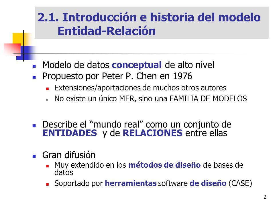 2 Modelo de datos conceptual de alto nivel Propuesto por Peter P. Chen en 1976 Extensiones/aportaciones de muchos otros autores » No existe un único M