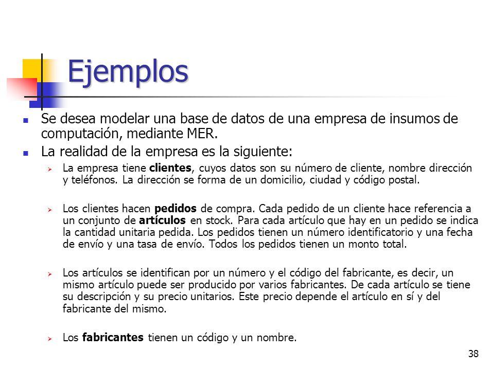 38 Ejemplos Se desea modelar una base de datos de una empresa de insumos de computación, mediante MER. La realidad de la empresa es la siguiente: La e