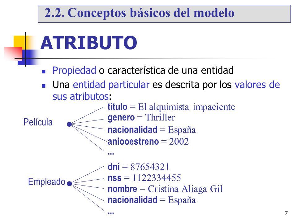 7 ATRIBUTO Propiedad o característica de una entidad Una entidad particular es descrita por los valores de sus atributos: titulo = El alquimista impac