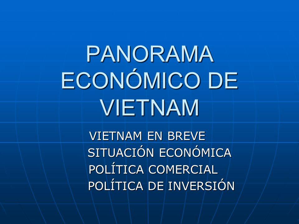 PANORAMA ECONÓMICO DE VIETNAM VIETNAM EN BREVE SITUACIÓN ECONÓMICA SITUACIÓN ECONÓMICA POLÍTICA COMERCIAL POLÍTICA COMERCIAL POLÍTICA DE INVERSIÓN POLÍTICA DE INVERSIÓN