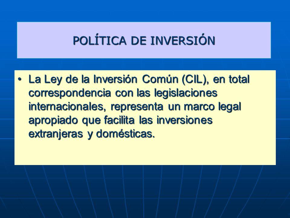 POLÍTICA DE INVERSIÓN La Ley de la Inversión Común (CIL), en total correspondencia con las legislaciones internacionales, representa un marco legal apropiado que facilita las inversiones extranjeras y domésticas.La Ley de la Inversión Común (CIL), en total correspondencia con las legislaciones internacionales, representa un marco legal apropiado que facilita las inversiones extranjeras y domésticas.