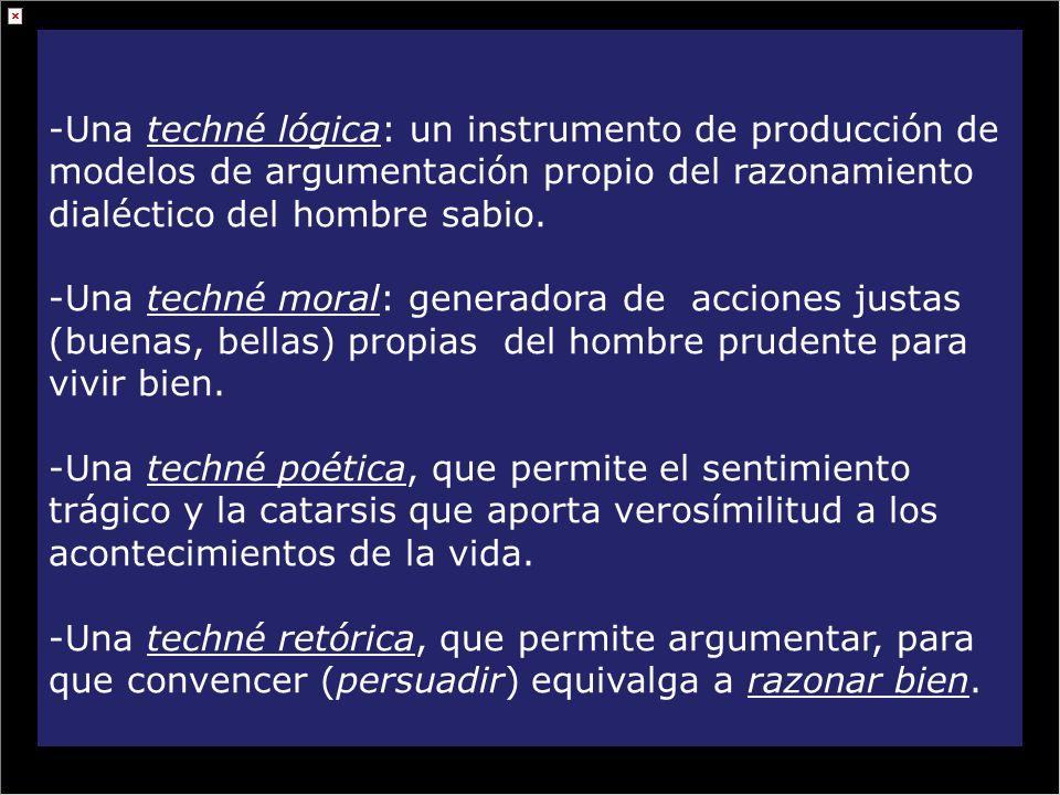 -Una techné lógica: un instrumento de producción de modelos de argumentación propio del razonamiento dialéctico del hombre sabio. -Una techné moral: g