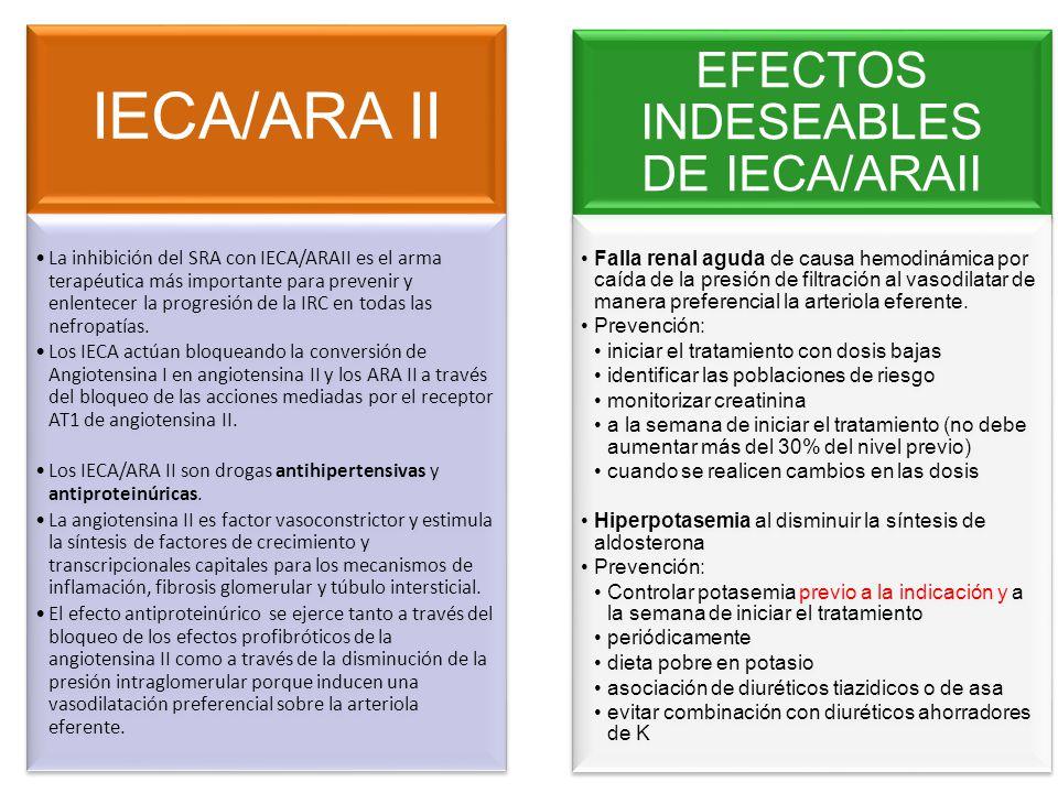 IECA/ARA II La inhibición del SRA con IECA/ARAII es el arma terapéutica más importante para prevenir y enlentecer la progresión de la IRC en todas las