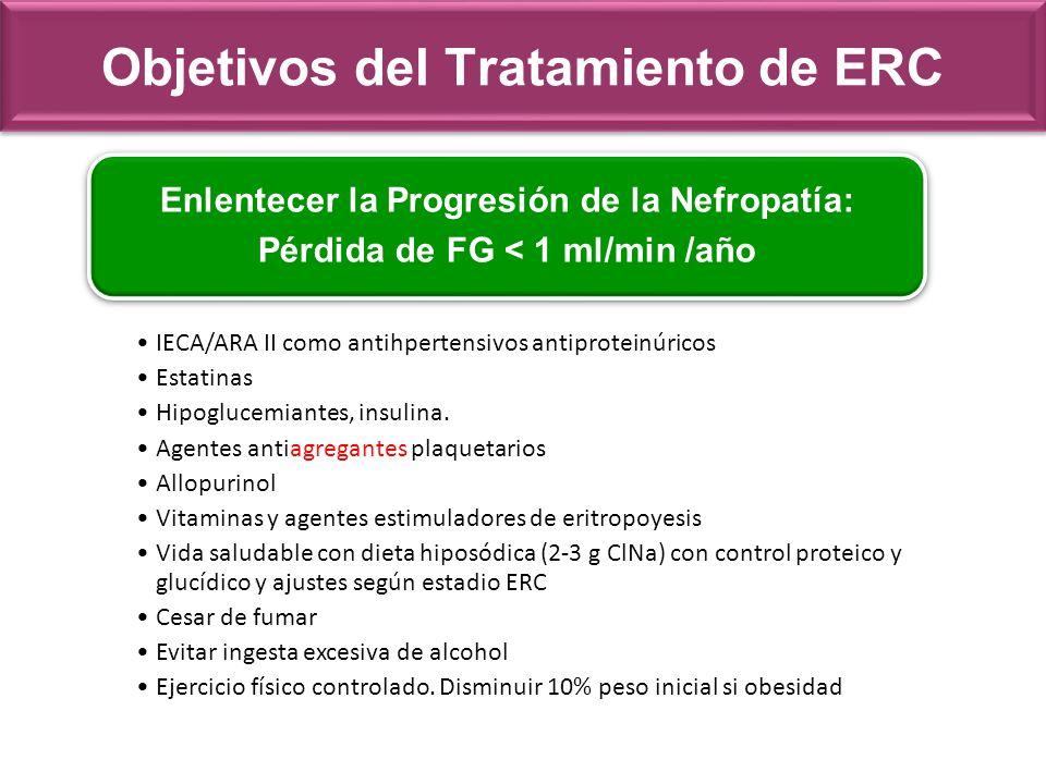 Objetivos del Tratamiento de ERC Enlentecer la Progresión de la Nefropatía: Pérdida de FG < 1 ml/min /año IECA/ARA II como antihpertensivos antiprotei