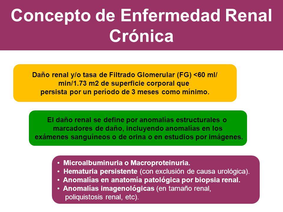 Concepto de Enfermedad Renal Crónica Daño renal y/o tasa de Filtrado Glomerular (FG) <60 ml/ min/1.73 m2 de superficie corporal que persista por un pe
