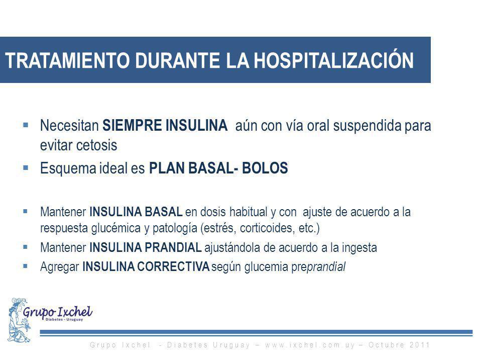 TRATAMIENTO DURANTE LA HOSPITALIZACIÓN Necesitan SIEMPRE INSULINA aún con vía oral suspendida para evitar cetosis Esquema ideal es PLAN BASAL- BOLOS M